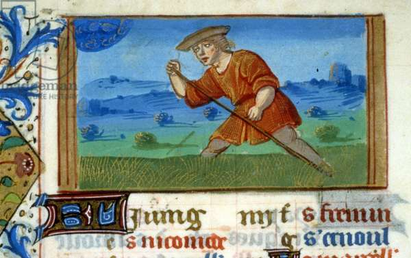 Zodiac Cancer and grass mowing - Miniature of the Middle Ages (ref. 137, 048v): Request for permission from the Municipal Library of Toulouse (tel: 05 62 27 66 66)