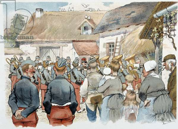 """Military band in a village in """""""" Military Album"""""""" by Albert Guillaume (1873-1942), circa 1900"""