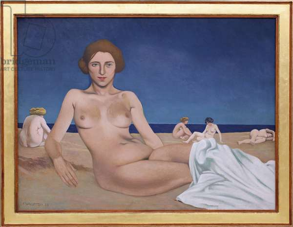 Sunbathing on the beach. Painting by Felix Edouard Vallotton (1865-1925), 1923. French art, 20th century. Musee des Beaux Arts de Rouen.