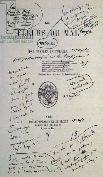 "Good to draw from ""Fleurs du Evil"", annotated by Charles Baudelaire, 1857"