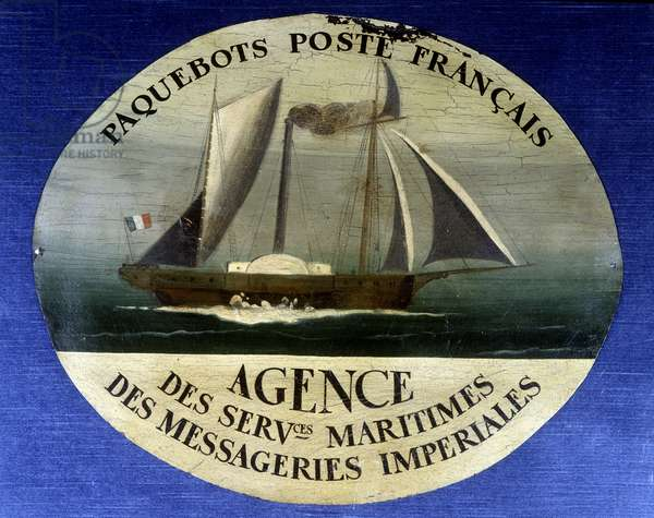 Advertising sign for French mail liner, agency of maritime services of imperiale couriers - painting on wood, late 19th century