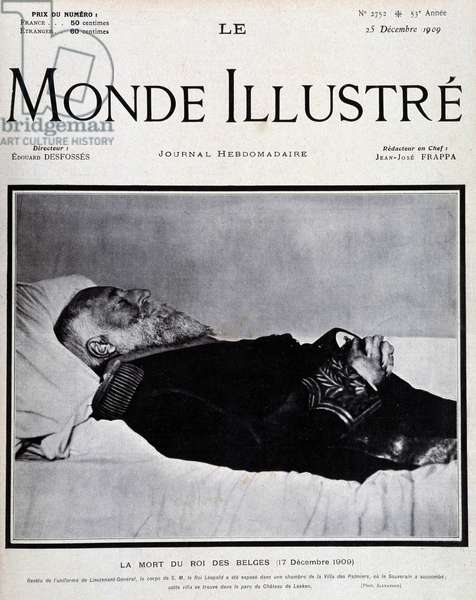 """Leopold II on his deathbed - cover """""""" The Illustrated World"""""""" from 23/12/1909."""
