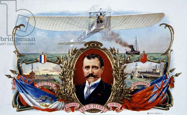 Portrait of Blériot: Crossing Calais - Dover in July 1909