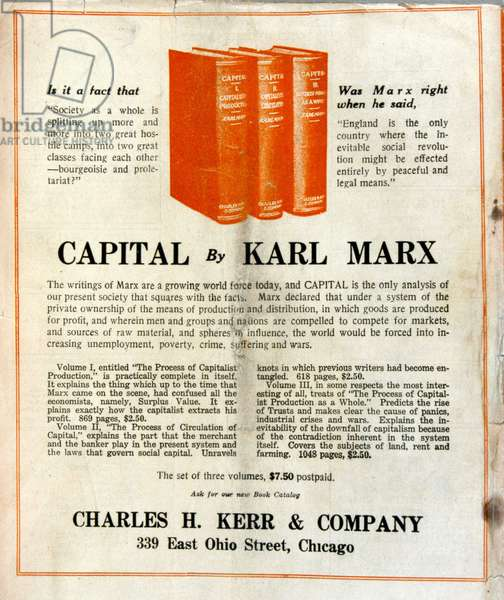 """Advertising for the sale of Karl Marx's book """"Le Capital"""" in an American magazine"""