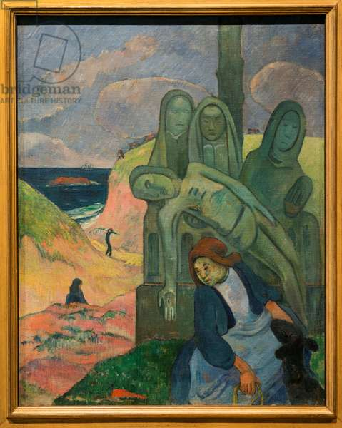 The Green Christ - Paul Gauguin (1848-1903) - 92 cm x 73 cm - Royal Museums of Fine Arts of Belgium - Post Impressionism - Breton Calvary, 1889 by Paul Gauguin (The Green Christ)
