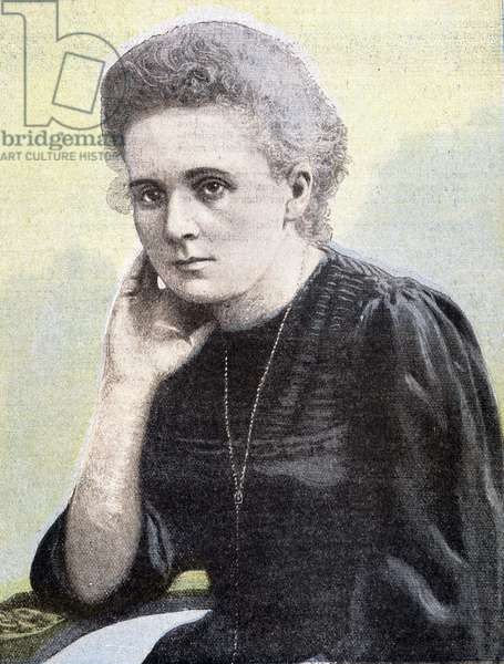 Portrait of Marie Curie. Engraving