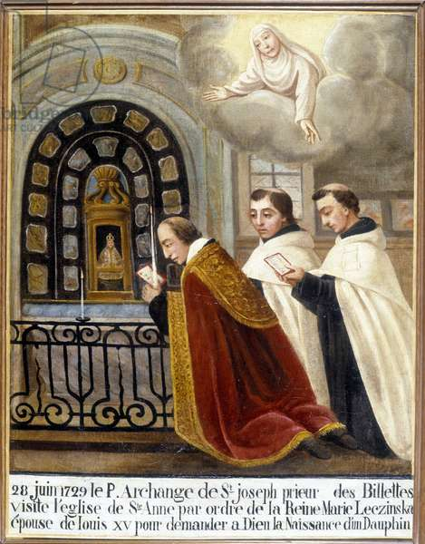 Fr Archangel of St Joseph, Prior of the Billettes, visits the church of Saint Anne by order of Queen Mary Leszczynska, wife of Louis XV to ask God for the birth of a dolphin, 28 June 1729 - Ex-Voto Sainte Anne d'Auray