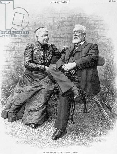 Jules Verne and his wife - engraving, 19th century