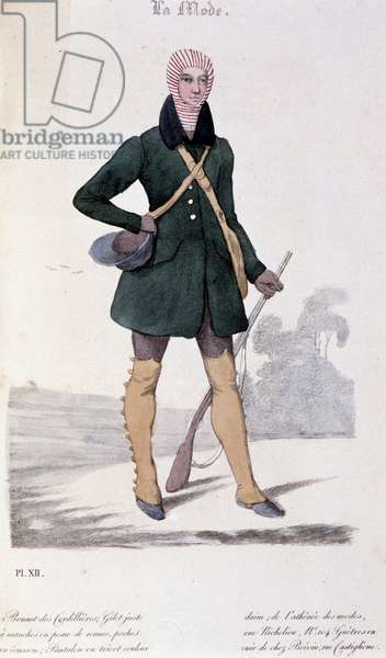 "Men's fashion, 1829: hunting outfit. Lithograph of Lemercier in """" La Mode"", Volume I, October, November, December 1829."