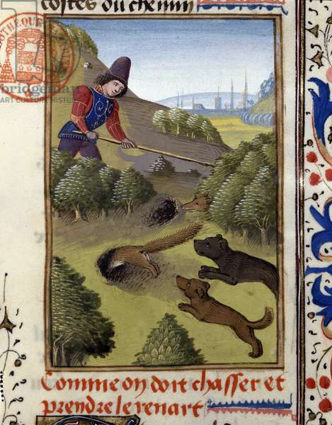 """Fox Hunt - in """""""" Hunting Book of Gaston Phoebus, Count of Foix, Lord of Béarn"""""""", 14th century"""