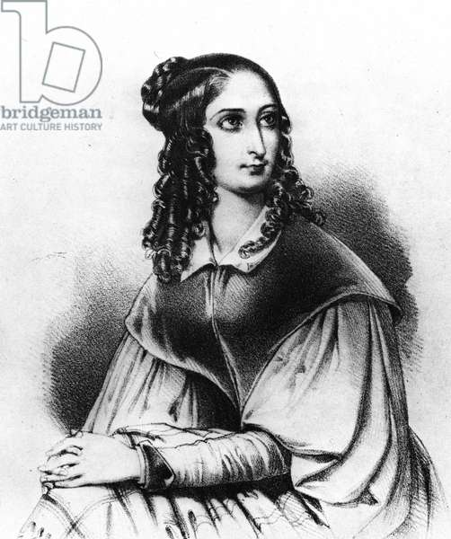 Portrait of Flora Tristan in 1839, Gauguin's grandmother, died 14 Nov. 1845 in Bordeaux - engraving, 19th century, Bibl of the city of Paris.