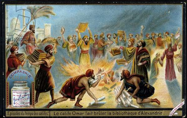 Caliph Omar burns the library of Alexandria - Liébig advertising vignette