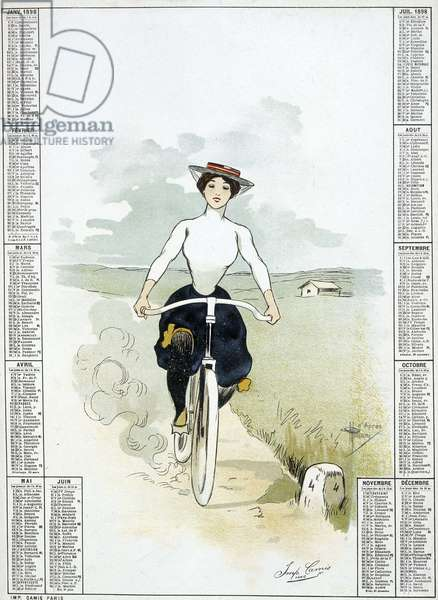 Woman on a biclyclette - drawing by Guillaume, calendar, 1898.