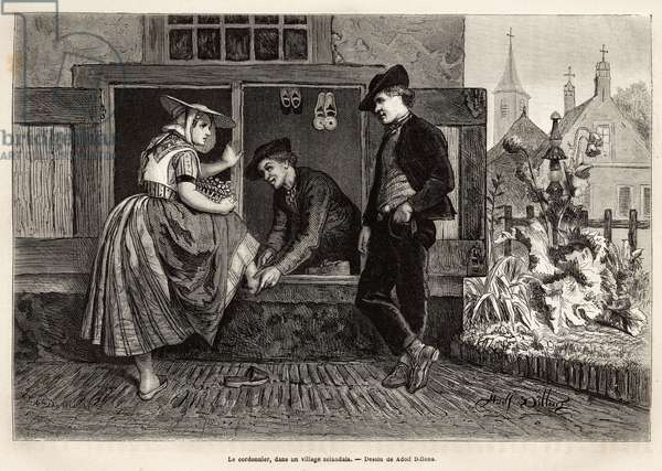 """A shoemaker in a Zelandan village, makes a young woman try a shoe accompanied by a young man, engraving after the drawing by Adolf Dillens, illustrating a journey to Zelande (Neerlande), in 1873, by Charles de Coster, published in """"Le tour du monde"""" 1874, edited by Edouard Charton, edition Hachette, Paris. Selva Collection."""