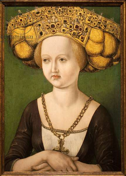 Portrait of Cunegonde of Austria (1465-1520) (Kunigunde of Austria) (Cunegonda of Austria). Painting by an anonymous man, oil on wood, circa 1584. National Museum of Arts of Catalonia, Barcelona (Spain).