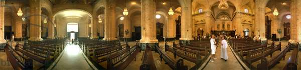The interior of the cathedrale, Havana. 360-degree panoramic by Leonard de Selva, Cuba, 2001.