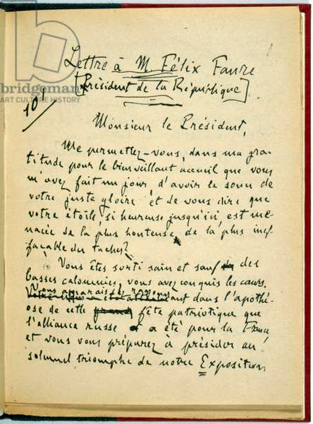 I accuse...! , 1st page of the handwritten letter from Emile Zola to the President of the Republic concerning the Dreyfus Case, January 1898