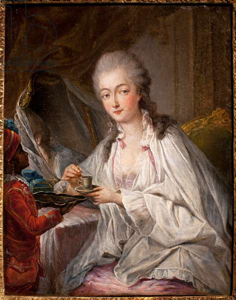 Portrait of Madame du Barry (Jeanne Becu, Countess (or Madame) of Barry (1743-1793), her black slave Zamor brings her a cup of coffee - Copy by Jean Baptiste Andre Gauthier Dagoty (or Gauthier D'Agoty) (1740-1786), oil on canvas, late 18th century (Portrait of Madame Du Barry and the Page Zamor, copy after Jean Baptiste Andre Gauthier Dagoty, oil on canvas late 18th century) - Musee Calouste Gulbenkian, Lisbon (Portugal)