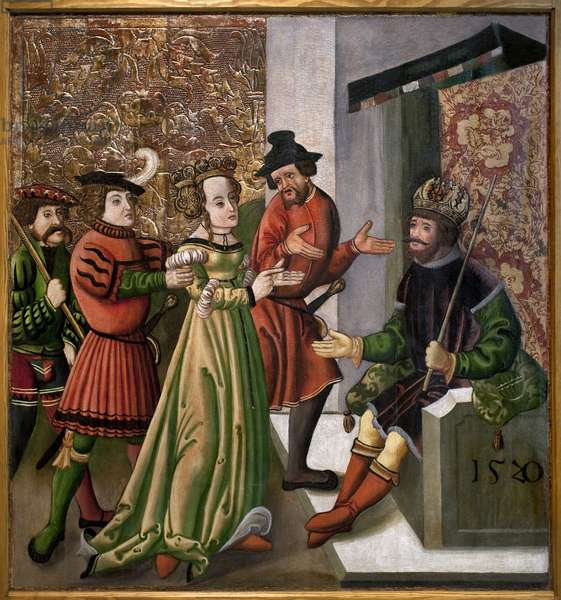 The conversation (disputatio) between St. Catherine and the philosophers. Quote from St. Catherine. Anonymous painting, 1520. Magyar Nemzeti Galleria, Budapest, Hungary.