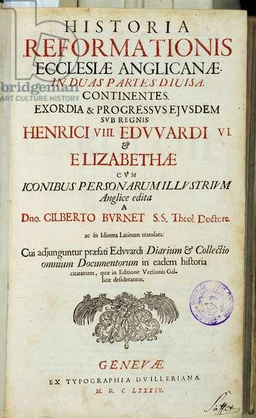 """Title page """""""" Historia Reformationis Ecclesiae Anglicanae..."""""""", Geneva, 1689"""