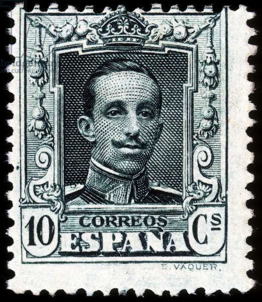 Portrait of Alfonso XIII, King of Spain - stamp, deb. 20th century