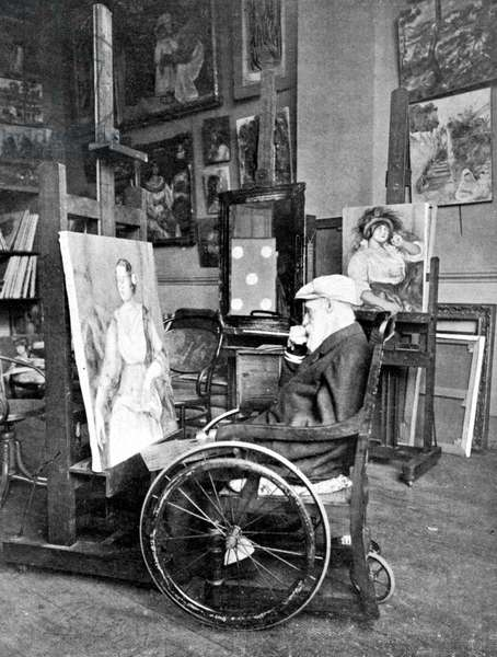 "Death of the painter Auguste Renoir """" Last portrait of the famous painter Auguste Renoir in his studio"""" - in ""The Illustrated World"""" 20/12/1919"