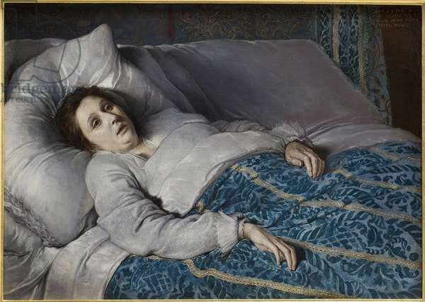 Young woman on her deathbed. Anonymous painting, oil on canvas, 1621. Flemish art 17th century. Musee des Beaux Arts de Rouen.