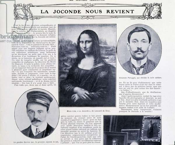 """The Mona Lisa is returned to us', front page of 'Le Monde Illustre', 20th December 1913 (litho)"