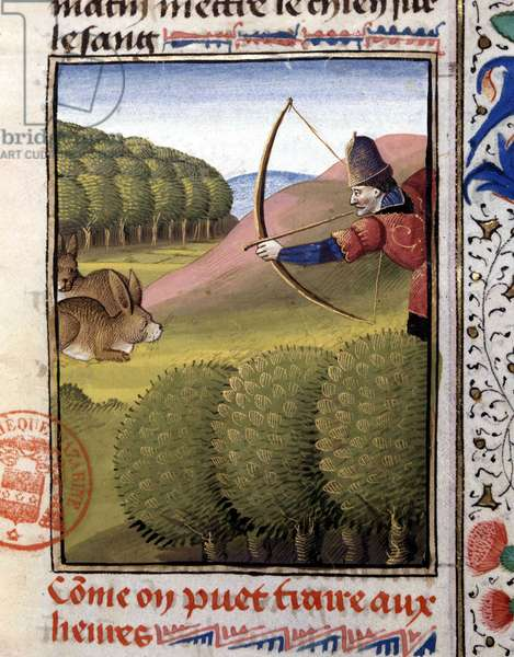 """Hunting a bow: hare - in """""""" Book of Hunting by Gaston Phoebus, Count of Foix, Lord of Béarn"""""""", 14th century"""