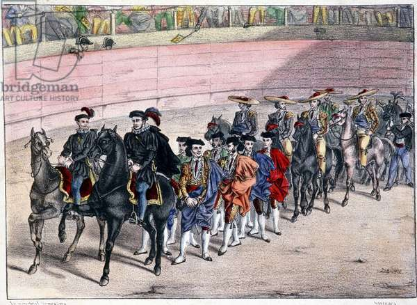 Release of the quadrille, corrida in Spain, lithography sd. 19th century