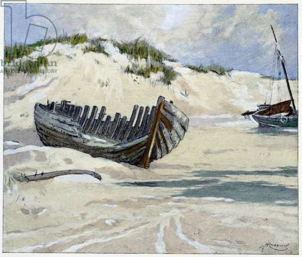 "Fortune ships on the dunes in ""Garirlande des dunes"""", by Emile Verhaeren, illustrated by H.Cassiers in Art-H.Piazza, Paris 1927."