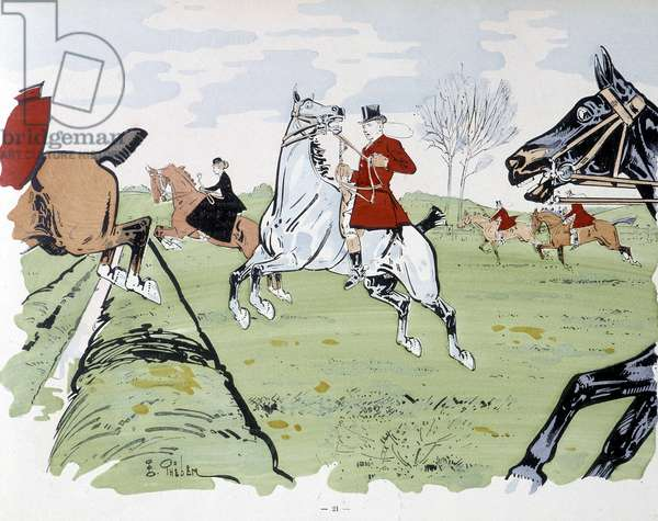 Horse-riding obstacle race - drawing by Thelem