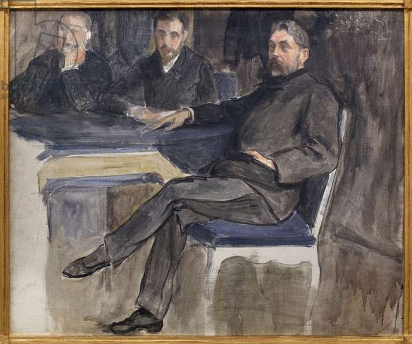 Study for the portrait of Stephane Mallarme (1842-1898) and his friends from La Revue Independante. Painting by Jacques Emile Blanche (1861-1942), oil on canvas, 1889, 19th century French art. Musee des beaux arts de Rouen.
