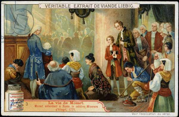 Wolfgang Amadeus Mozart (1756-1791) hearing in Rome the famous Miserere d'Allegri, 1771 - advertising label Liebig, v.1900