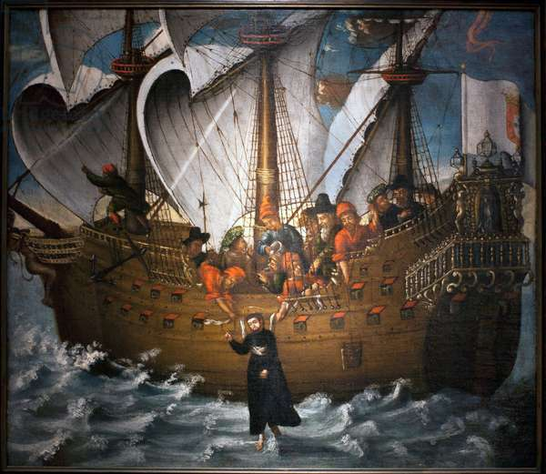 St. Francis Xavier walking on water (oil on canvas)