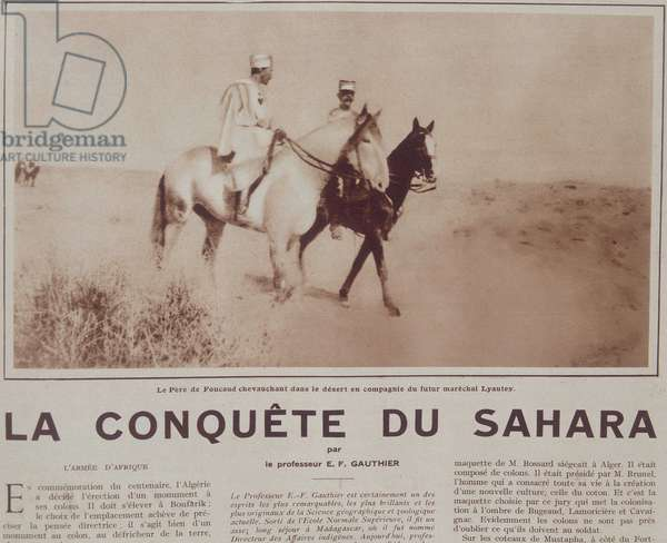 "Le Pere Charles de Foucauld (1858-1916) riding in the desert with the future marechal Hubert (Louis-Hubert-Gonzalve) Lyautey (1854-1934) - in """" Vu"""", Dec 1929"