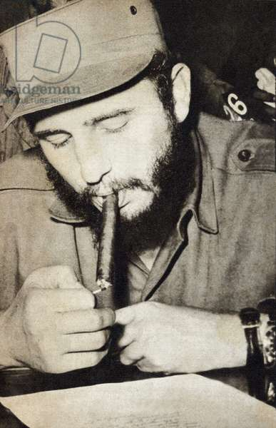 "Portrait of Fidel Castro (born in 1926), during the Cuban Communist Revolution in 1959. Photography in """" Bohemia"""", January 18-25, 1959, Cuba."