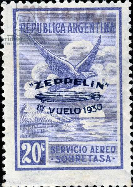 Argentine stamp commemorating the 1st flight of Zeppelin in 1930