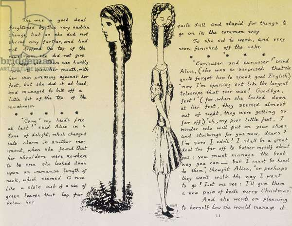 """Alice on the Long Neck - Manuscript and drawings of """"Alice in Wonderland"""" by Lewis Carroll, coll."""