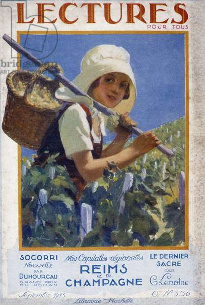 """Young girl during the harvest. Illustration of the newspaper """""""" Lectures pour tous"""""""" of September 1925 dedicated to Reims and Champagne."""