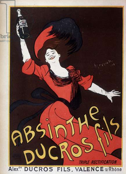 Advertising for wormwood Ducros (woman waving a bottle), 1901. Drawing by Leonetto Cappiello (1875-1942)