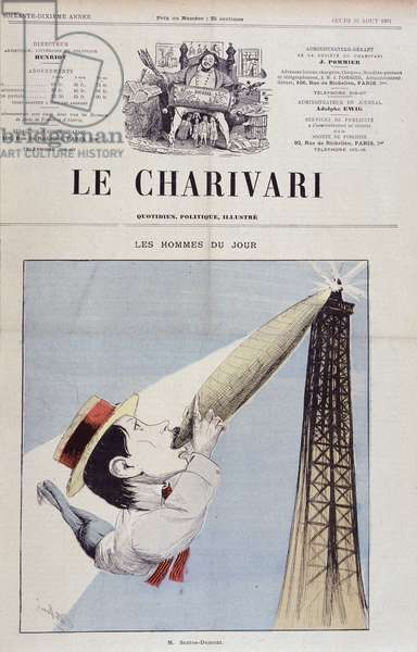 "Cartoon by Santos Dumont (lights an aerostat cigar at the Eiffel Tower) - in """" Le Charivari"""" from 23/8/1901, drawing by Albert Rene."