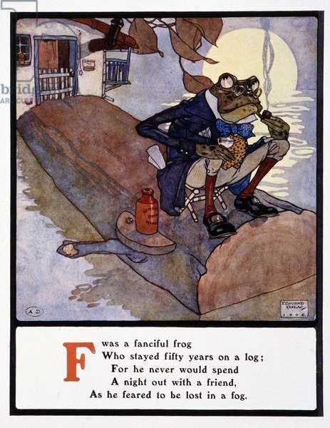"""Frog smoking la pipe (Letter F = Frog) - in """""""" Lyrics pathetic & humourous from A to Z"""""""" by Edmund (Edmond) Dulac (1882-1953), ed. Frederick Warne & cie, 1908. DR"""