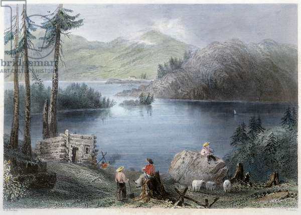 """View of Lake and Border - in """""""" Canadian scenery illustrated"""" by Bartlett W. H., 1842"""