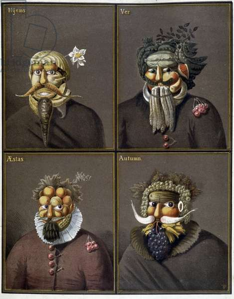 The four seasons: men with vegetable heads in the way of Giuseppe Arcimboldo.