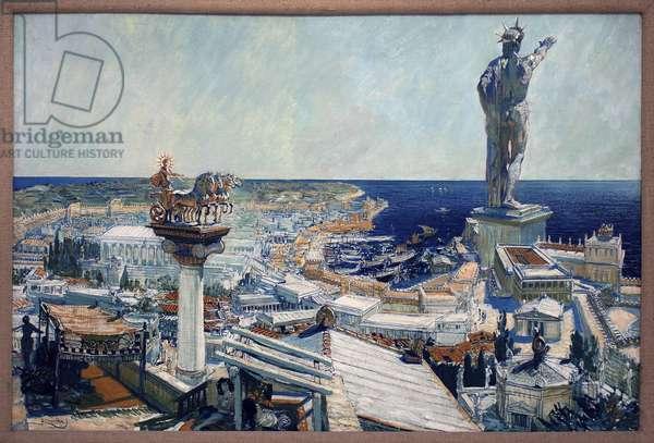 The Colossus of Rhodes (Greece). Painting by Frantisek (Francois) Kupka (1871-1957), oil on canvas 1906. Czech art, 20th century. Veletrzni Palace (Fairs Palace), Prague (Czech Republic).