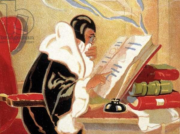 Astrologist: Nostradamus studying a book.