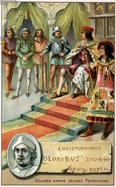 Columbus (his hands tied) brought before Ferdinand - Chromolithography of the 19th century