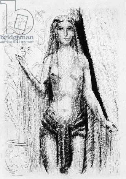 """The Apparition of Hadaly. Engraving by Raphael Drouart (1894-1972) for """""""" L'Eve future"""""""", 1925, by Jean Marie Mathias Philippe Auguste, count of Villiers de L'Isle Adam (L'Isle-Adam) (1838-1889). Rights reserved"""