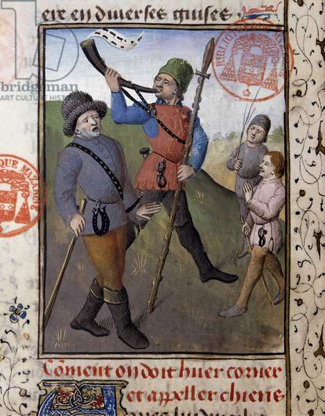 """Scene de chasse a courre - in """""""" Book of Hunting by Gaston Phoebus, Count of Foix, Lord of Bearn"""""""", 14th century"""